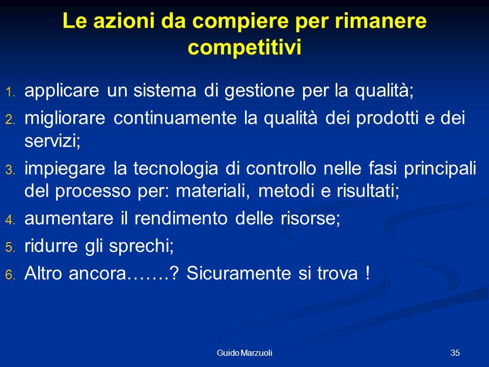 35Guido Marzuoli Le azioni da compiere per rimanere competitivi 1. 1. applicare un sistema di gestione per la qualità; 2. 2. migliorare continuamente