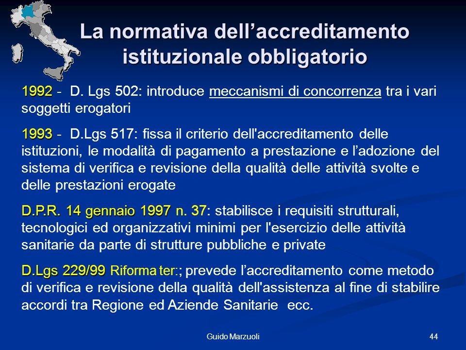 44Guido Marzuoli 1992 1992 - D. Lgs 502: introduce meccanismi di concorrenza tra i vari soggetti erogatori 1993 1993 - D.Lgs 517: fissa il criterio de