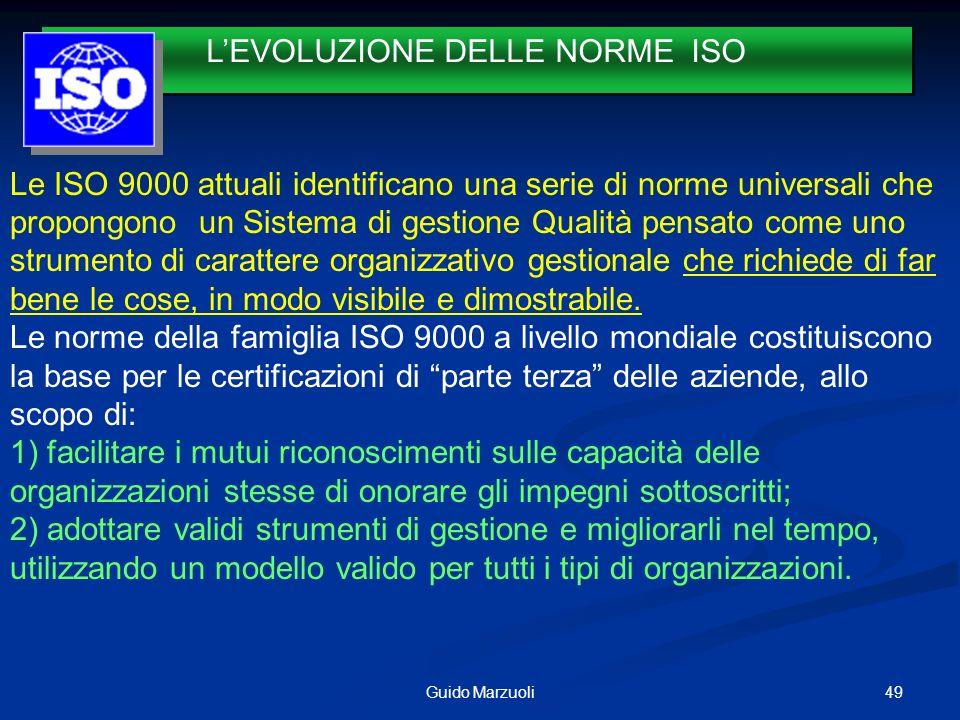 49Guido Marzuoli LEVOLUZIONE DELLE NORME ISO 1987 Le ISO 9000 attuali identificano una serie di norme universali che propongono un Sistema di gestione