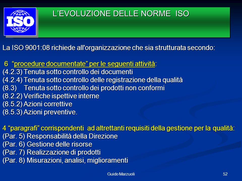 La ISO 9001:08 richiede all'organizzazione che sia strutturata secondo: 6 procedure documentate per le seguenti attività: 6 procedure documentate per