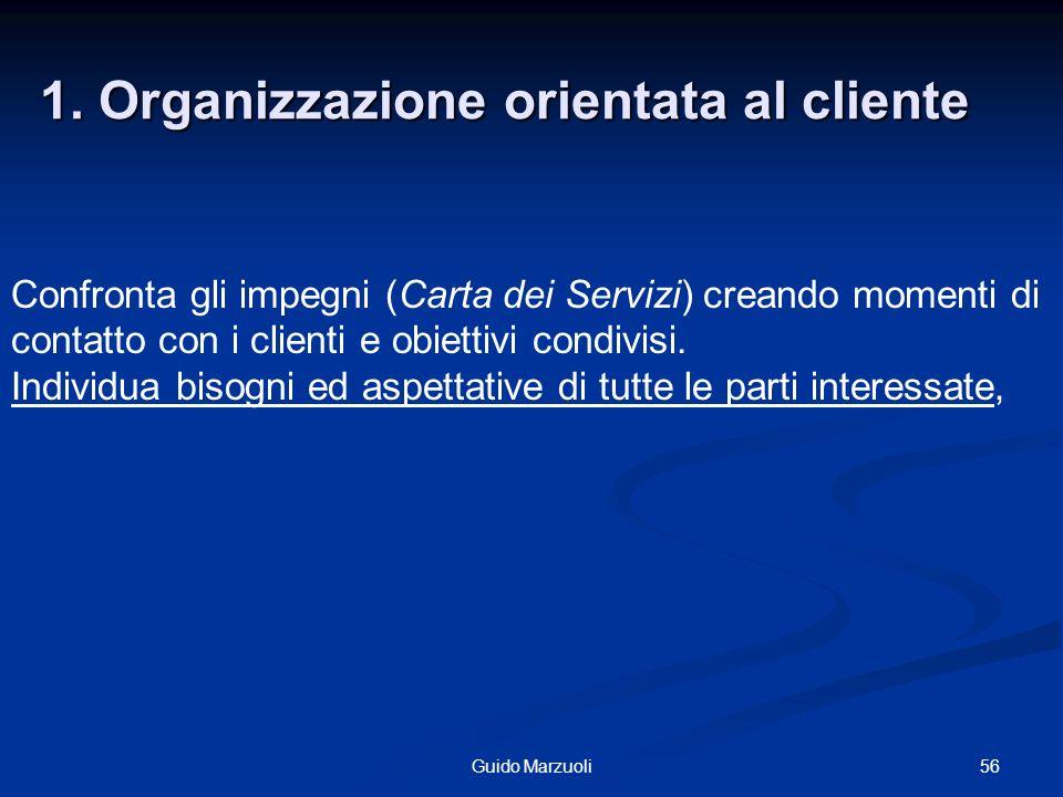 56Guido Marzuoli 1. Organizzazione orientata al cliente Confronta gli impegni (Carta dei Servizi) creando momenti di contatto con i clienti e obiettiv