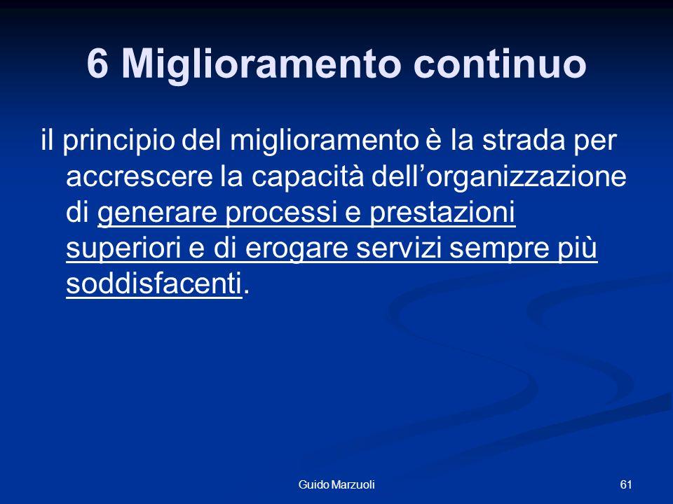 6 Miglioramento continuo il principio del miglioramento è la strada per accrescere la capacità dellorganizzazione di generare processi e prestazioni s