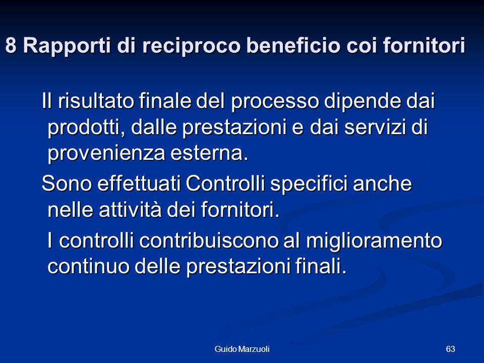 8 Rapporti di reciproco beneficio coi fornitori Il risultato finale del processo dipende dai prodotti, dalle prestazioni e dai servizi di provenienza