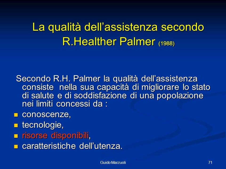 71Guido Marzuoli La qualità dellassistenza secondo R.Healther Palmer (1988) Secondo R.H. Palmer la qualità dellassistenza consiste nella sua capacità