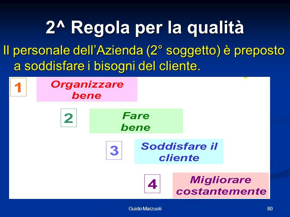 80Guido Marzuoli 2^ Regola per la qualità Il personale dellAzienda (2° soggetto) è preposto a soddisfare i bisogni del cliente.