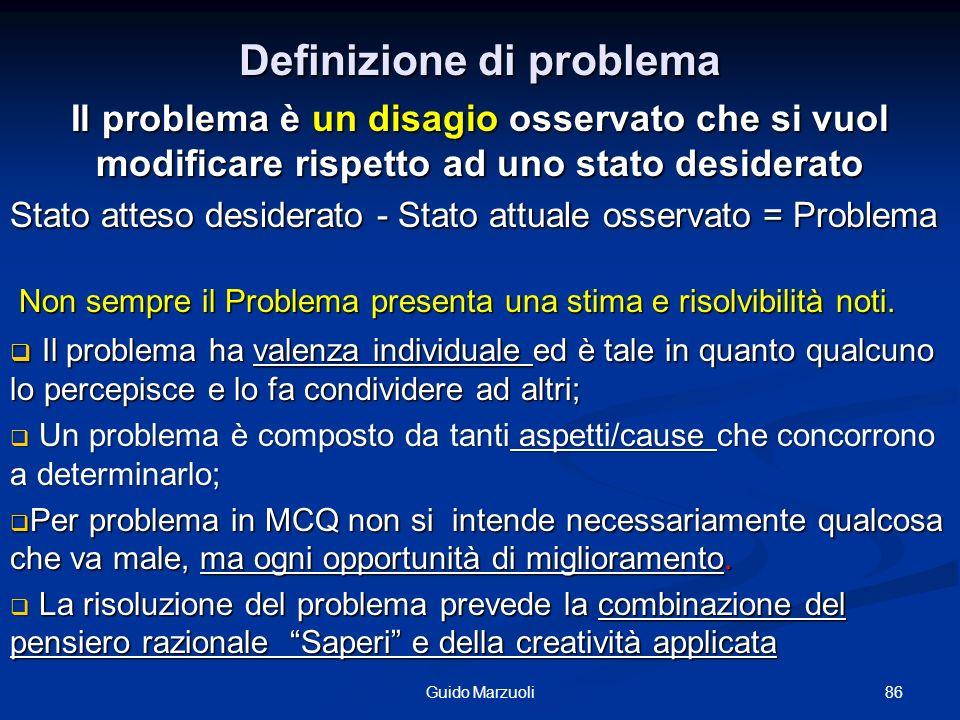 Definizione di problema 86Guido Marzuoli Il problema è un disagio osservato che si vuol modificare rispetto ad uno stato desiderato Stato atteso desid
