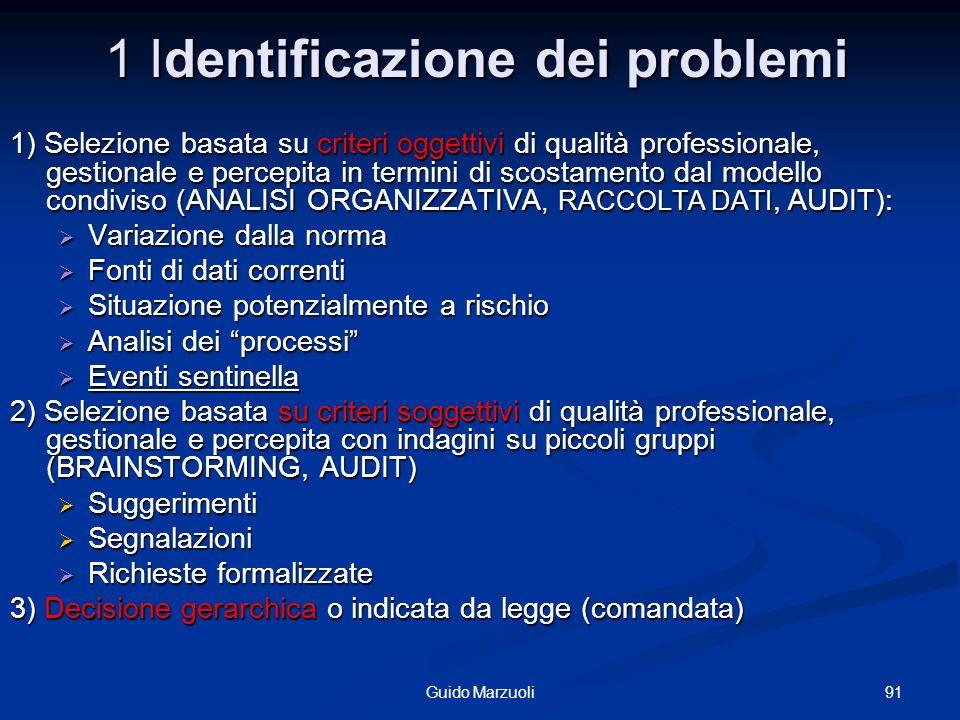 91Guido Marzuoli 1 Identificazione dei problemi 1) Selezione basata su criteri oggettivi di qualità professionale, gestionale e percepita in termini d