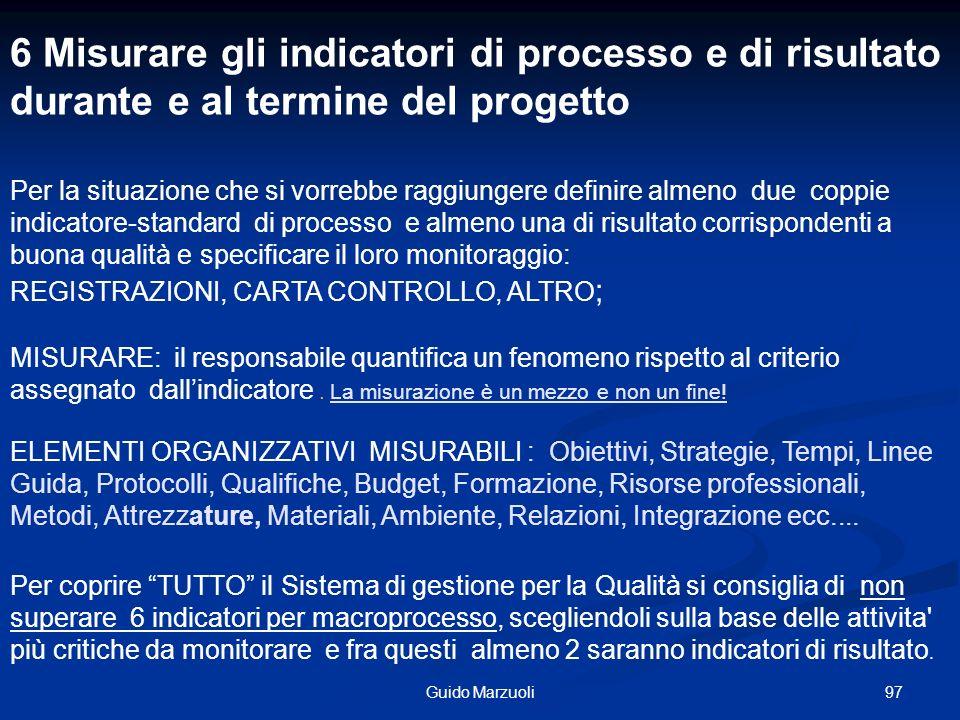 97Guido Marzuoli ELEMENTI ORGANIZZATIVI MISURABILI : Obiettivi, Strategie, Tempi, Linee Guida, Protocolli, Qualifiche, Budget, Formazione, Risorse pro