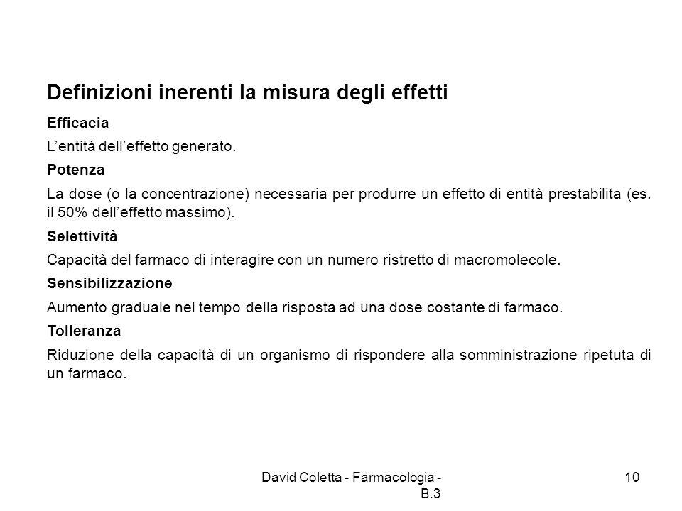 David Coletta - Farmacologia - B.3 10 Definizioni inerenti la misura degli effetti Efficacia Lentità delleffetto generato. Potenza La dose (o la conce