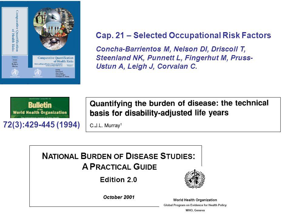 Cap. 21 – Selected Occupational Risk Factors Concha-Barrientos M, Nelson DI, Driscoll T, Steenland NK, Punnett L, Fingerhut M, Pruss- Ustun A, Leigh J