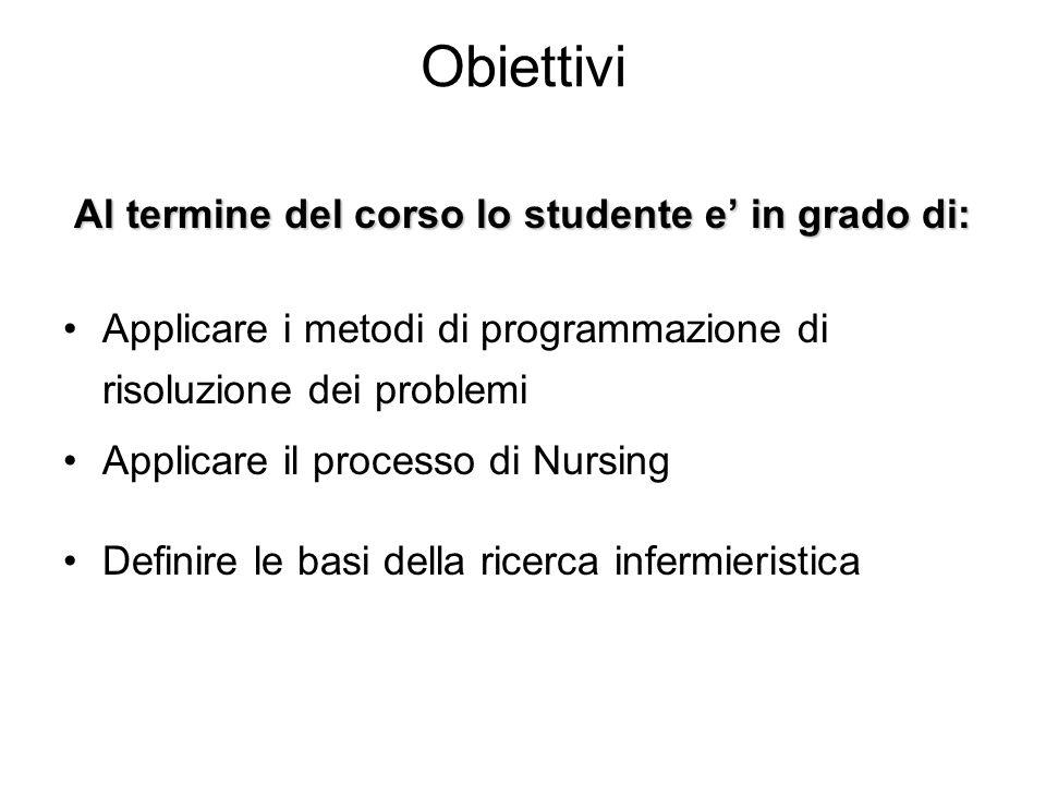 Obiettivi Al termine del corso lo studente e in grado di: Applicare i metodi di programmazione di risoluzione dei problemi Applicare il processo di Nu