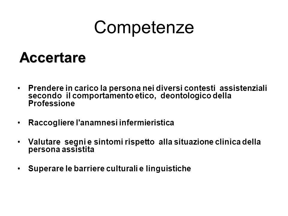 Competenze Accertare Prendere in carico la persona nei diversi contesti assistenziali secondo il comportamento etico, deontologico della Professione R