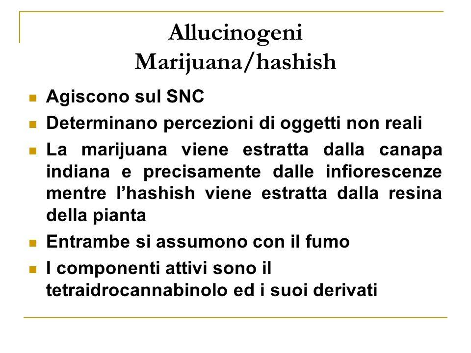 Allucinogeni Marijuana/hashish Agiscono sul SNC Determinano percezioni di oggetti non reali La marijuana viene estratta dalla canapa indiana e precisamente dalle infiorescenze mentre lhashish viene estratta dalla resina della pianta Entrambe si assumono con il fumo I componenti attivi sono il tetraidrocannabinolo ed i suoi derivati