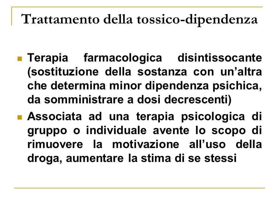 Trattamento della tossico-dipendenza Terapia farmacologica disintissocante (sostituzione della sostanza con unaltra che determina minor dipendenza psi