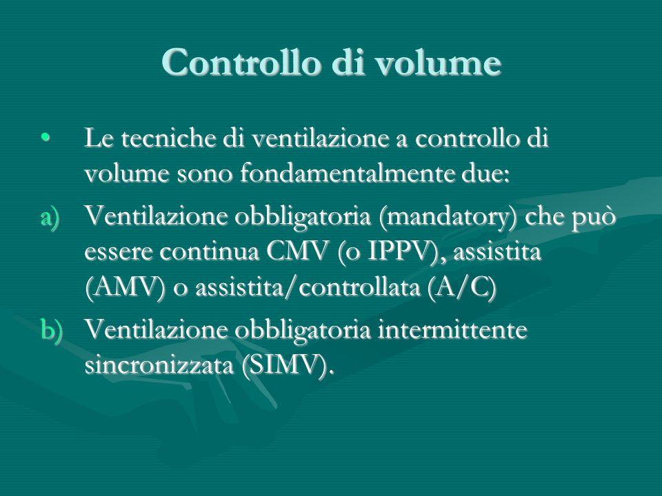 Controllo di volume Le tecniche di ventilazione a controllo di volume sono fondamentalmente due:Le tecniche di ventilazione a controllo di volume sono