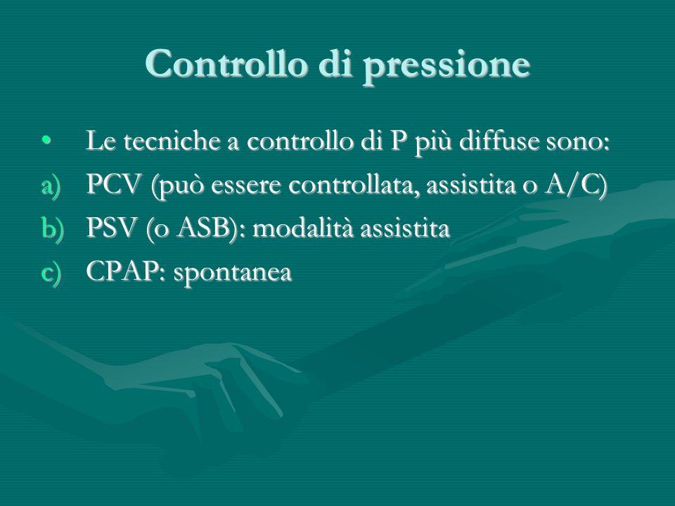 Controllo di pressione Le tecniche a controllo di P più diffuse sono:Le tecniche a controllo di P più diffuse sono: a)PCV (può essere controllata, ass