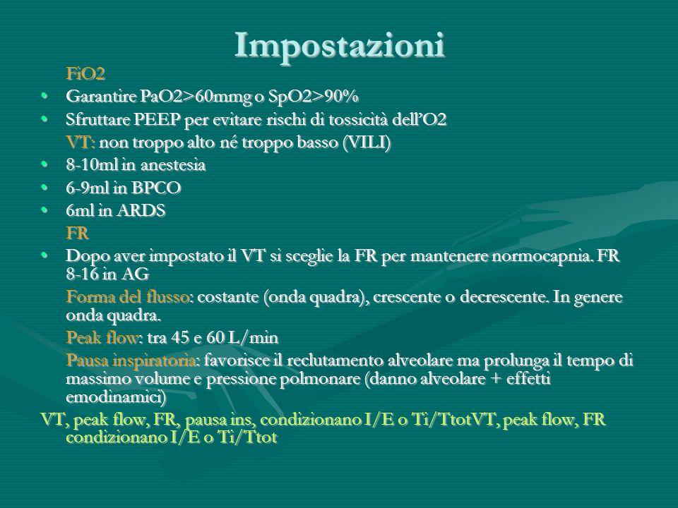 Impostazioni FiO2 Garantire PaO2>60mmg o SpO2>90%Garantire PaO2>60mmg o SpO2>90% Sfruttare PEEP per evitare rischi di tossicità dellO2Sfruttare PEEP p