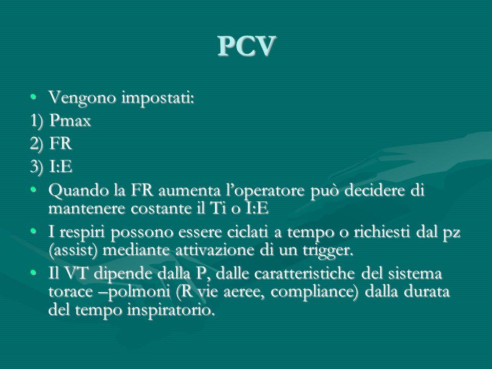 PCV Vengono impostati:Vengono impostati: 1) Pmax 2) FR 3) I:E Quando la FR aumenta loperatore può decidere di mantenere costante il Ti o I:EQuando la