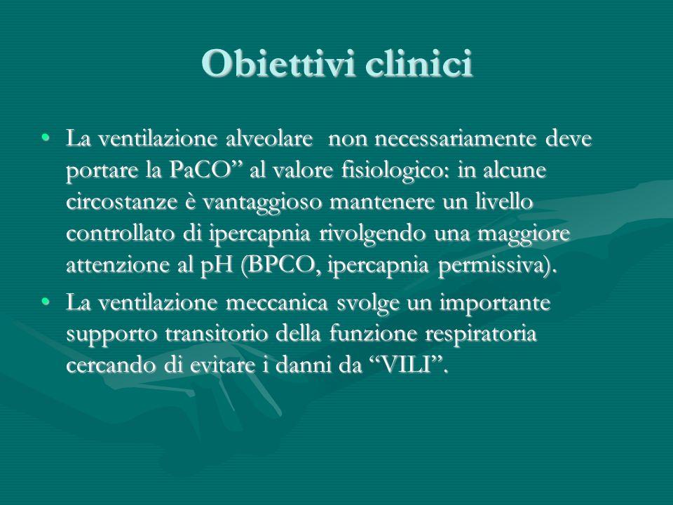 Obiettivi clinici La ventilazione alveolare non necessariamente deve portare la PaCO al valore fisiologico: in alcune circostanze è vantaggioso manten