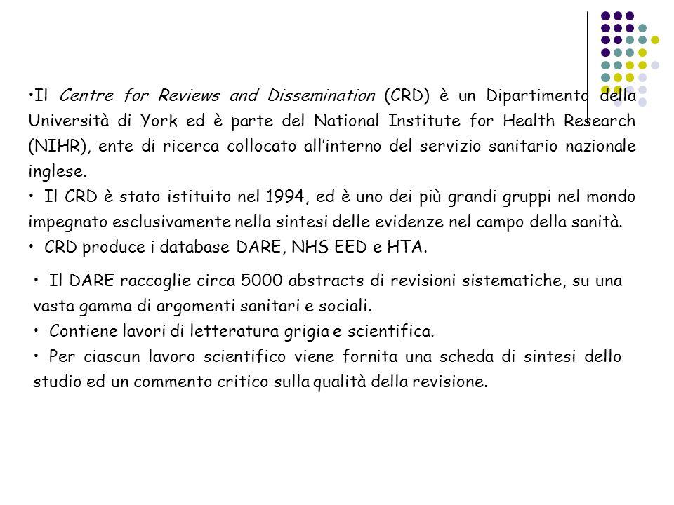 Il DARE raccoglie circa 5000 abstracts di revisioni sistematiche, su una vasta gamma di argomenti sanitari e sociali. Contiene lavori di letteratura g