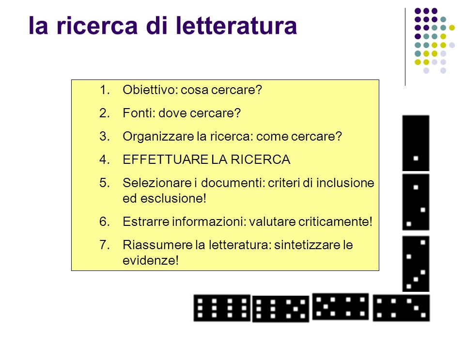 Banche dati elettroniche per la ricerca di revisioni Base datiEnteIndirizzo webNote Cochrane Database of Systematic ReviewsThe Cochrane Collaborationwww.cochrane.org/reviewsA pagamento Database of Abstracts of Reviews of Effects (DARE) Centre for review and dissemination University of York - NHS www.crd.york.ac.uk/crdwebGratuita Health Technology Assessment Database (HTA) Centre for review and dissemination University of York - NHS www.crd.york.ac.uk/crdwebGratuita NHS Economic Evaluation Database Centre for review and dissemination University of York - NHS www.crd.york.ac.uk/crdwebGratuita The Campbell LibraryThe Campbell Collaborationwww.campbellcollaboration.org/Gratuita Database of promoting health effectiveness reviews (DoPHER) EPPI-Centrewww.eppi.ioe.ac.uk/cms/ Health EvidencePublic Health Agency of Canadahttp//:health-evidence.ca/health-evidence.ca/Gratuita