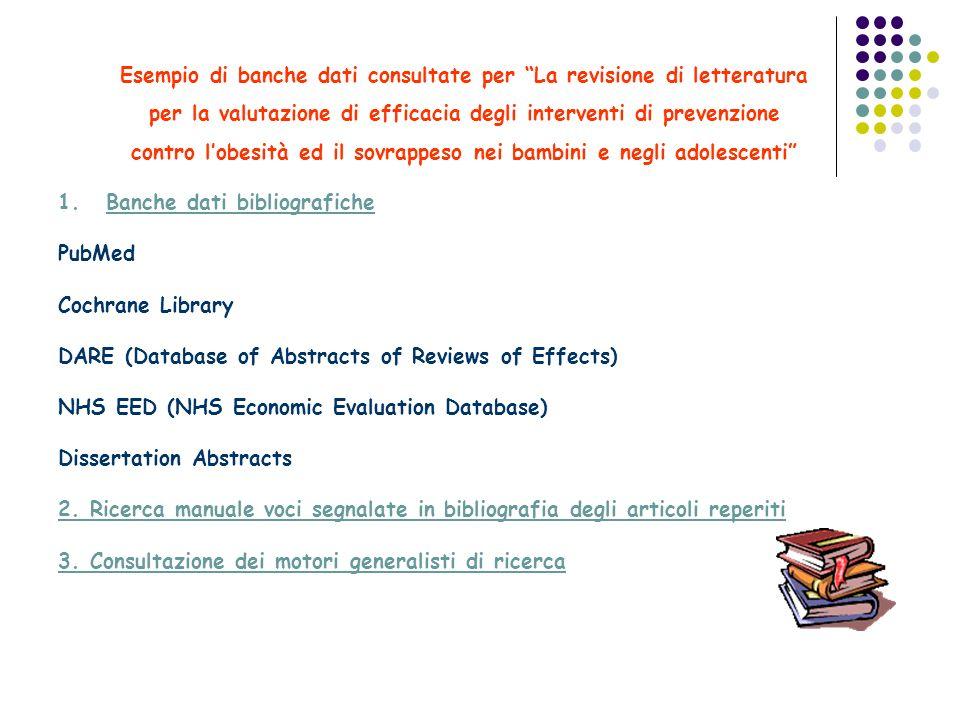 Esempio di banche dati consultate per La revisione di letteratura per la valutazione di efficacia degli interventi di prevenzione contro lobesità ed i
