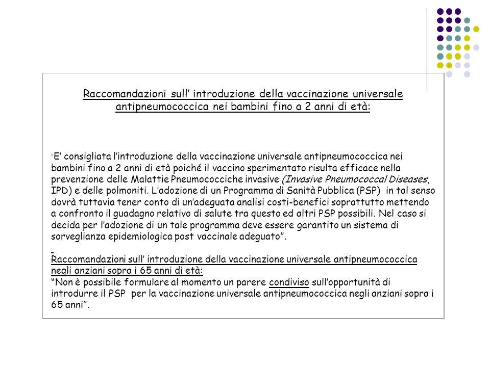 Raccomandazioni sull introduzione della vaccinazione universale antipneumococcica nei bambini fino a 2 anni di età: E consigliata lintroduzione della