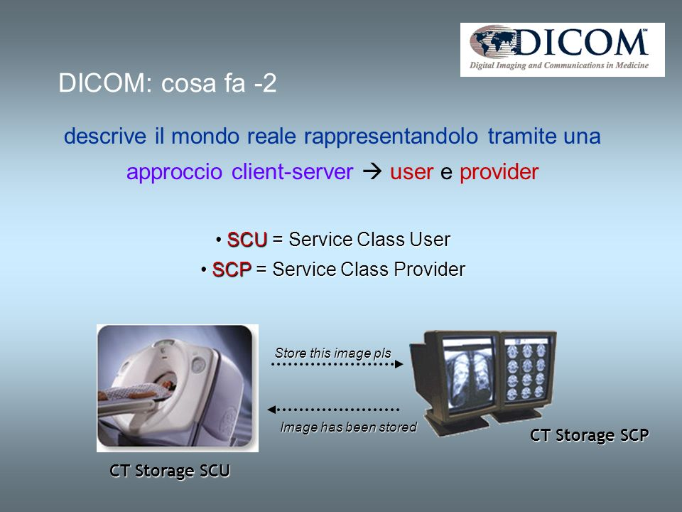 DICOM: cosa fa -2 descrive il mondo reale rappresentandolo tramite una approccio client-server user e provider SCU = Service Class User SCU = Service Class User SCP = Service Class Provider SCP = Service Class Provider CT Storage SCU CT Storage SCP Store this image pls Image has been stored
