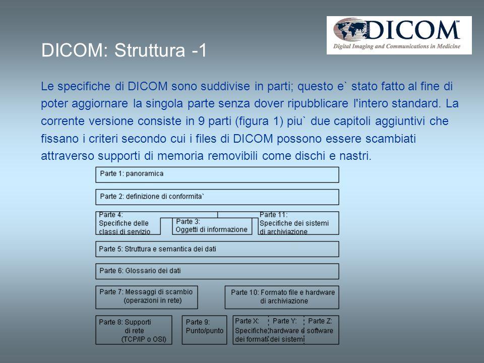 DICOM: Struttura -1 Le specifiche di DICOM sono suddivise in parti; questo e` stato fatto al fine di poter aggiornare la singola parte senza dover rip