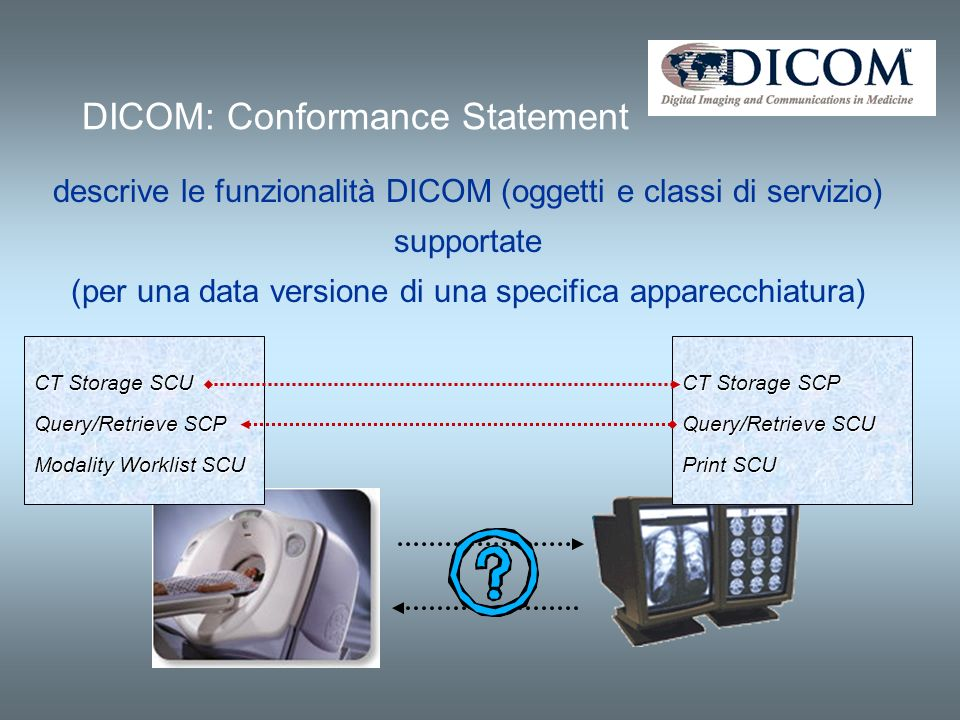 DICOM: Conformance Statement descrive le funzionalità DICOM (oggetti e classi di servizio) supportate (per una data versione di una specifica apparecchiatura) CT Storage SCU Query/Retrieve SCP Modality Worklist SCU CT Storage SCP Query/Retrieve SCU Print SCU