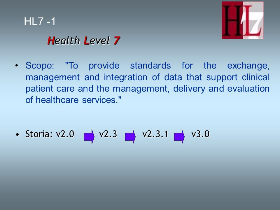 HL7 -1 Health Level 7 Scopo: To provide standards for the exchange, management and integration of data that support clinical patient care and the management, delivery and evaluation of healthcare services. Storia: v2.0 v2.3 v2.3.1 v3.0Storia: v2.0 v2.3 v2.3.1 v3.0