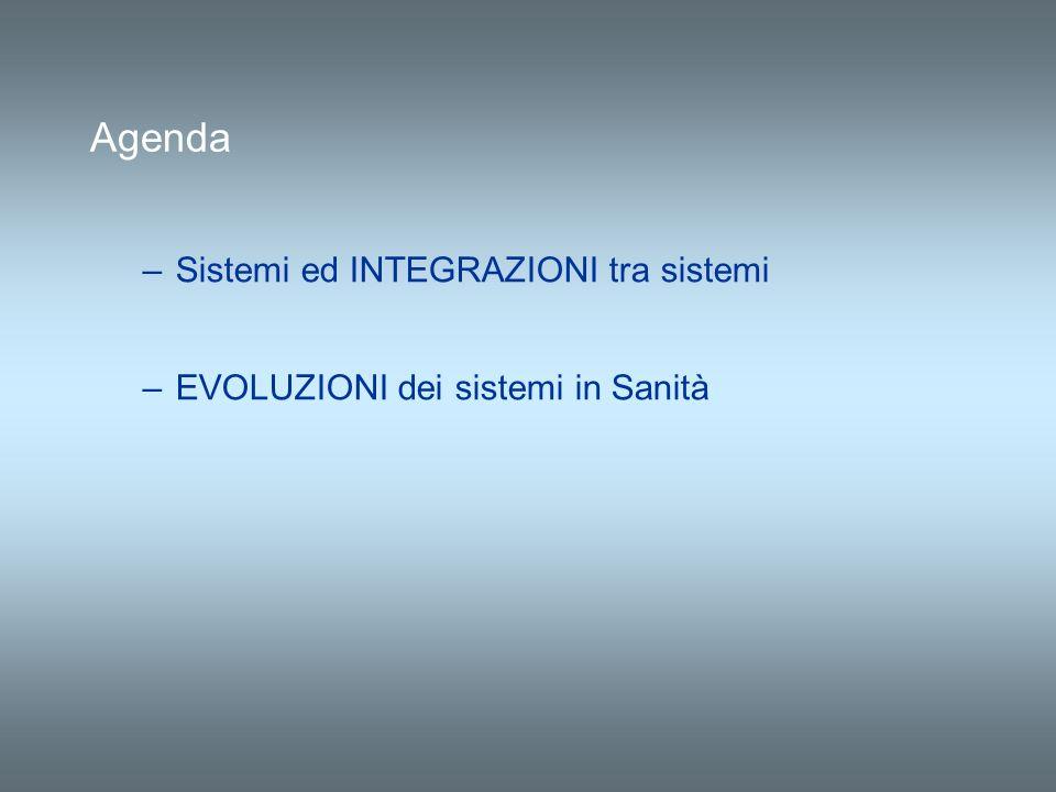 –Sistemi ed INTEGRAZIONI tra sistemi –EVOLUZIONI dei sistemi in Sanità Agenda