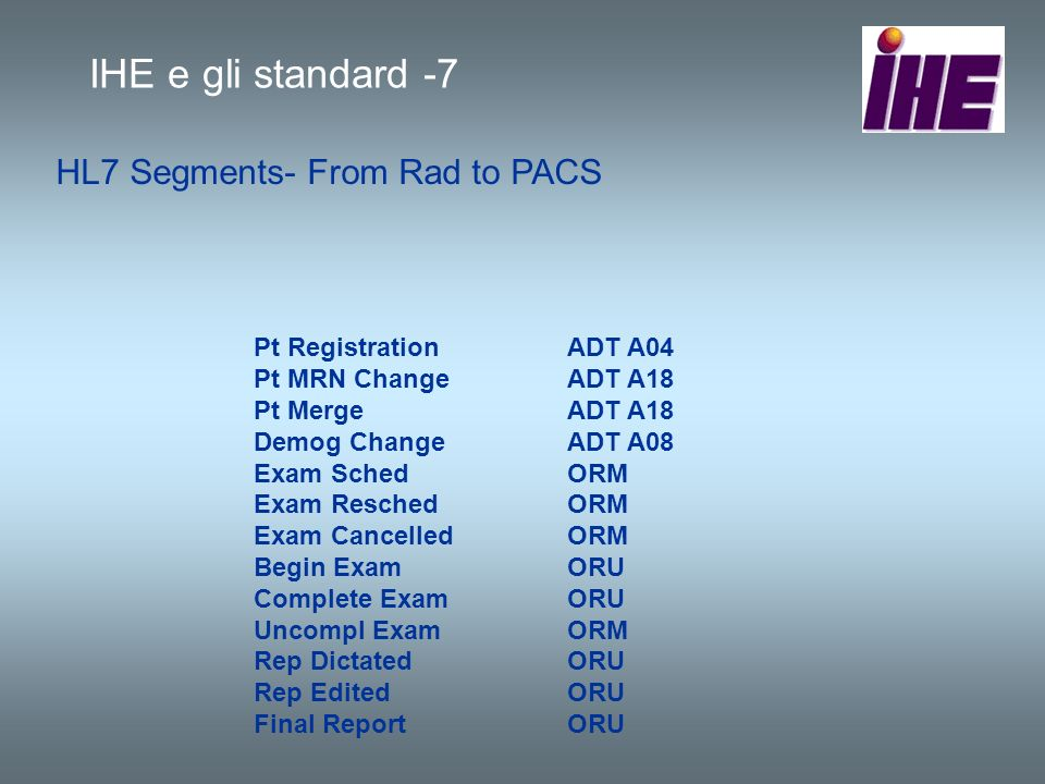 HL7 Segments- From Rad to PACS Pt RegistrationADT A04 Pt MRN ChangeADT A18 Pt MergeADT A18 Demog ChangeADT A08 Exam SchedORM Exam ReschedORM Exam Canc