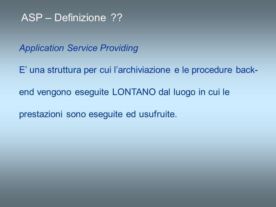 ASP – Definizione ?? Application Service Providing E una struttura per cui larchiviazione e le procedure back- end vengono eseguite LONTANO dal luogo