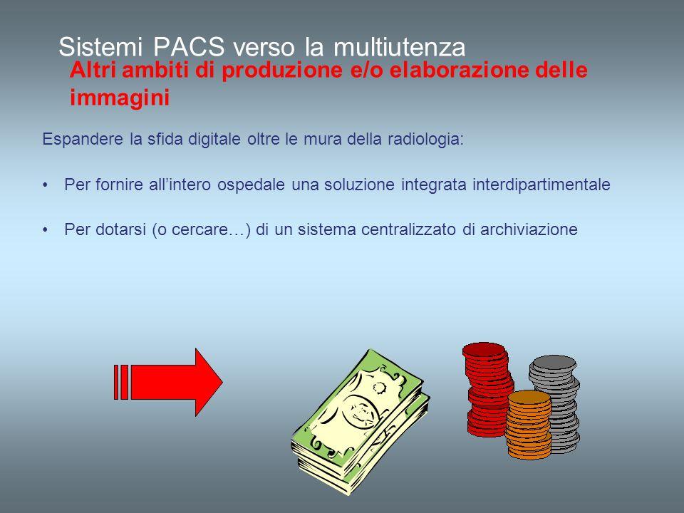 Sistemi PACS verso la multiutenza Altri ambiti di produzione e/o elaborazione delle immagini Espandere la sfida digitale oltre le mura della radiologi