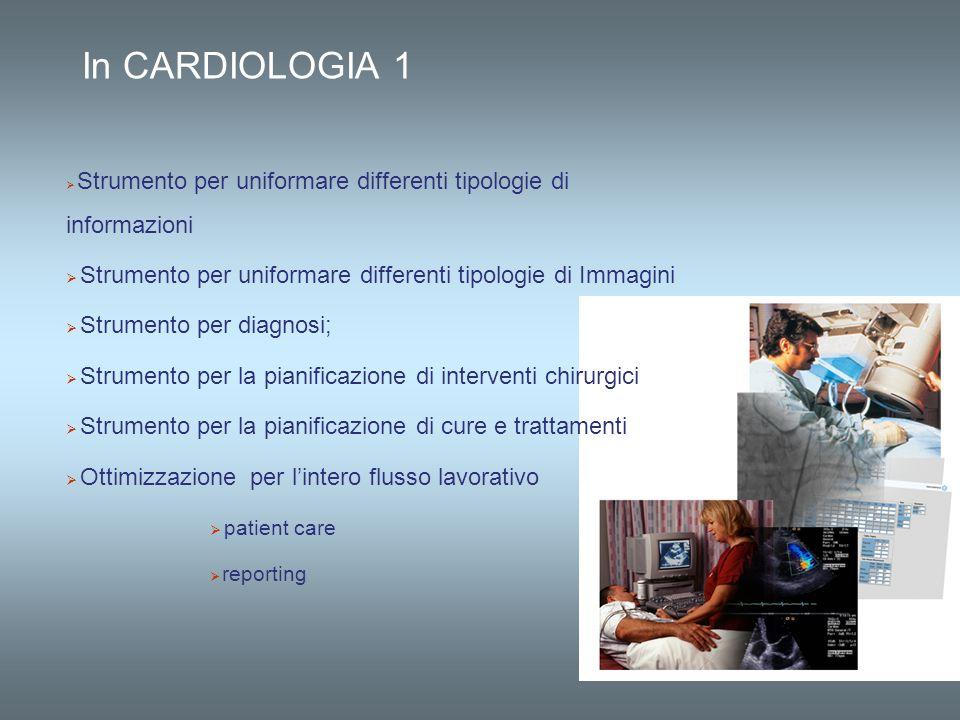 In CARDIOLOGIA 1 Strumento per uniformare differenti tipologie di informazioni Strumento per uniformare differenti tipologie di Immagini Strumento per
