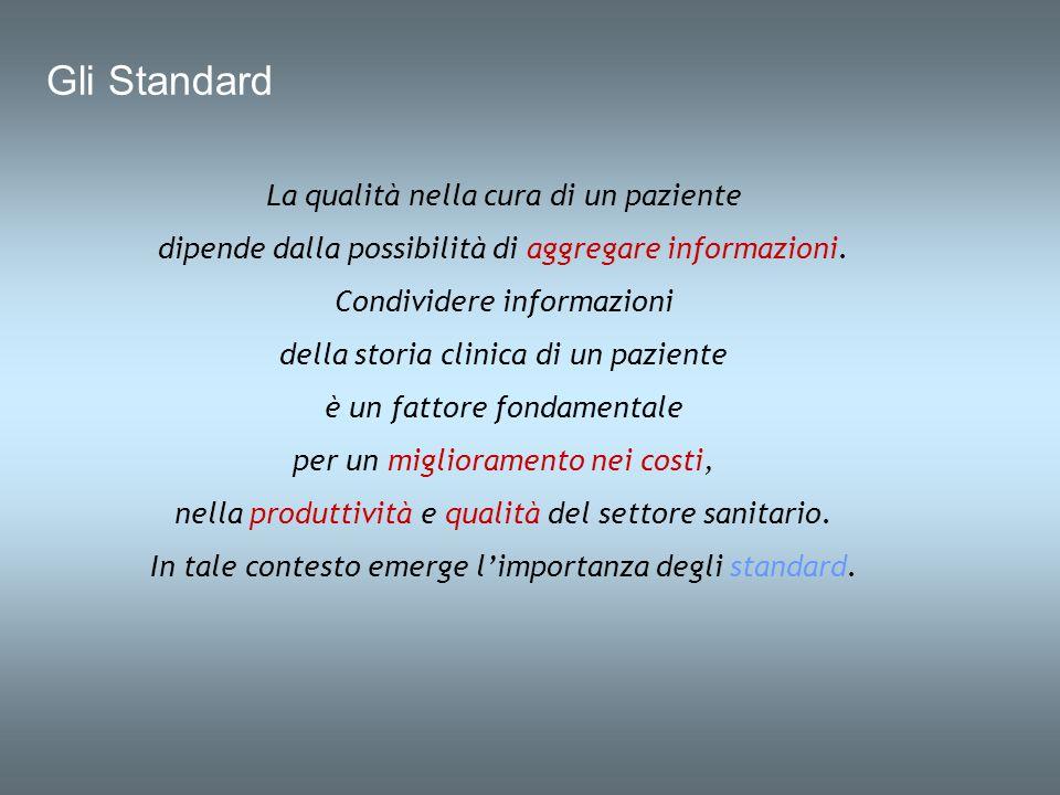 Gli Standard La qualità nella cura di un paziente dipende dalla possibilità di aggregare informazioni. Condividere informazioni della storia clinica d