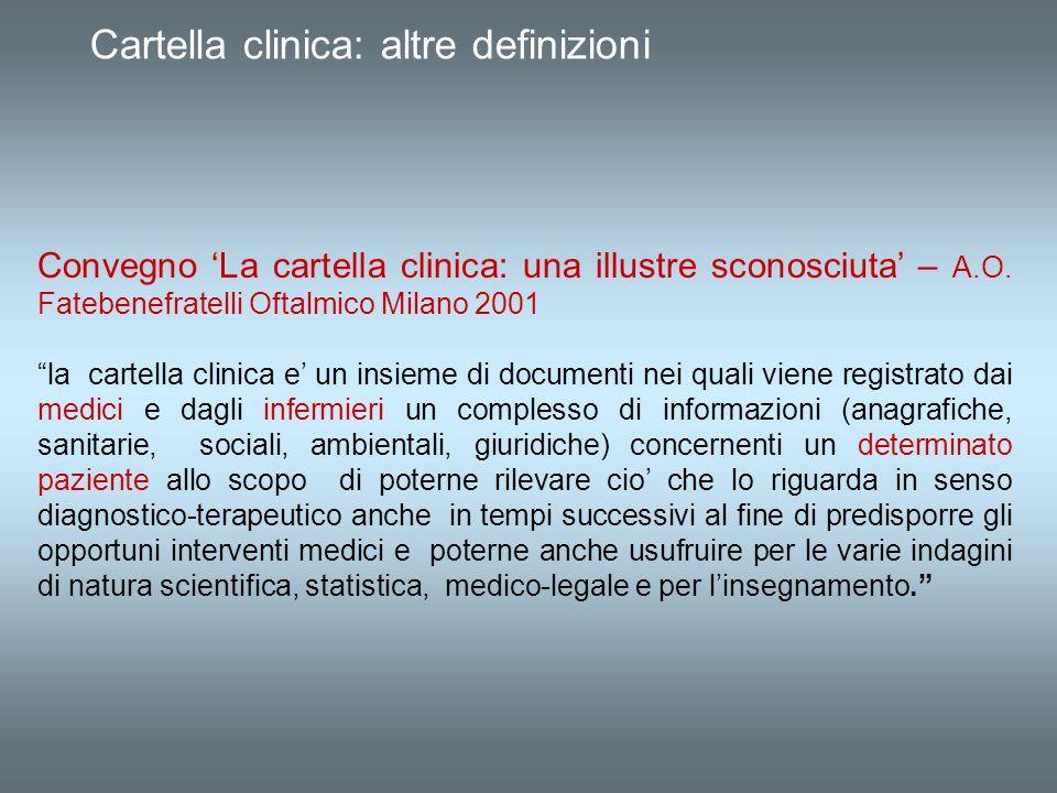 Cartella clinica: altre definizioni Convegno La cartella clinica: una illustre sconosciuta – A.O. Fatebenefratelli Oftalmico Milano 2001 la cartella c