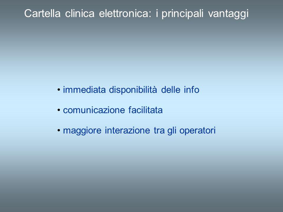 Cartella clinica elettronica: i principali vantaggi immediata disponibilità delle info comunicazione facilitata maggiore interazione tra gli operatori