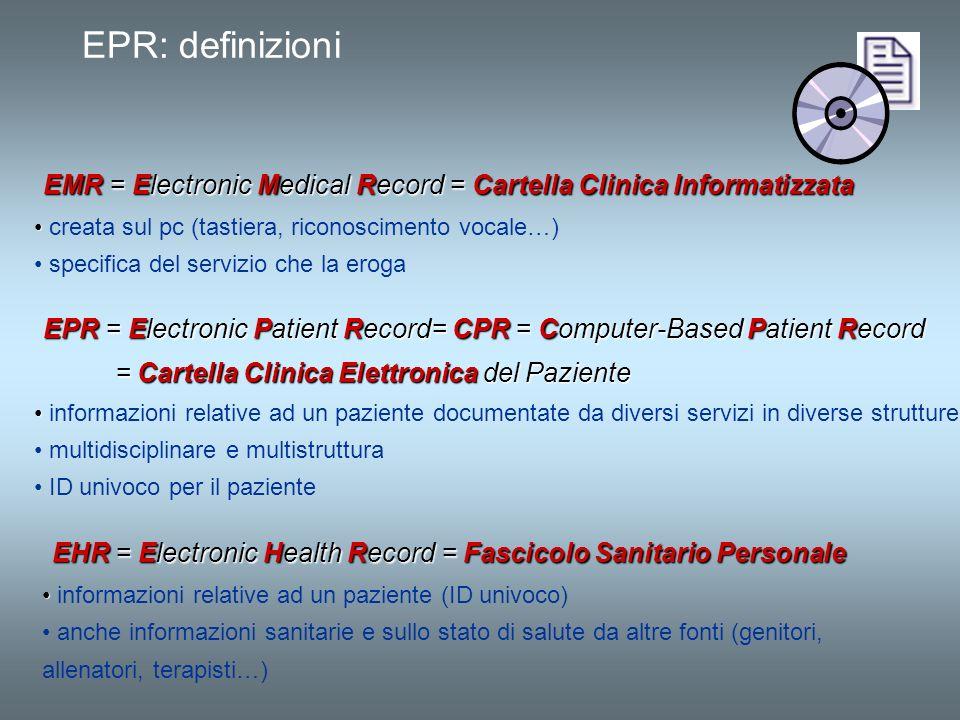 EPR: definizioni EMR = Electronic Medical Record = Cartella Clinica Informatizzata EMR = Electronic Medical Record = Cartella Clinica Informatizzata c