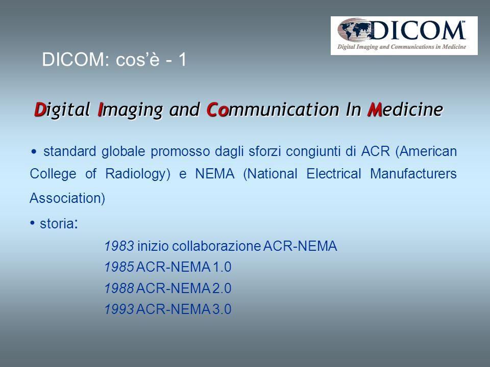 DICOM: cosè - 2 Definisce i criteri per la comunicazione, la visualizzazione, l archiviazione e la stampa di informazioni di tipo biomedico E pubblico, nel senso che la sua definizione è accessibile a tutti.