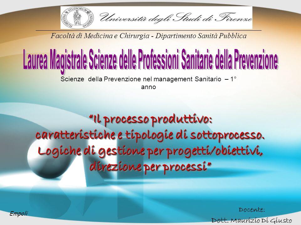 Il processo produttivo: caratteristiche e tipologie di sottoprocesso. Logiche di gestione per progetti/obiettivi, direzione per processi Scienze della