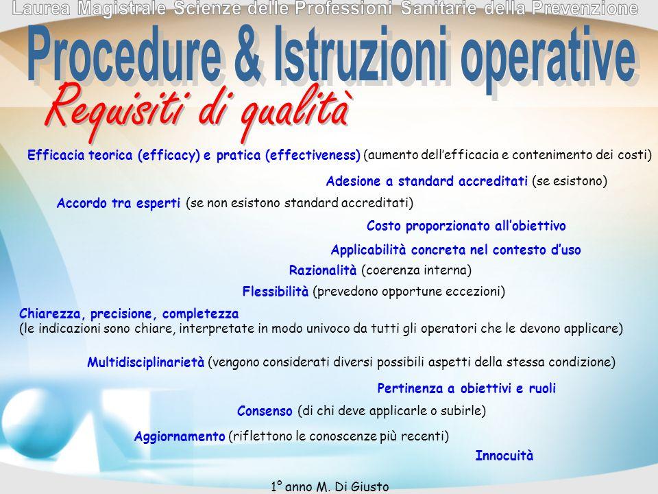 Requisiti di qualità Adesione a standard accreditati (se esistono) Efficacia teorica (efficacy) e pratica (effectiveness) (aumento dellefficacia e con