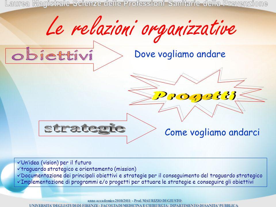 Dove vogliamo andare Come vogliamo andarci Unidea (vision) per il futuro traguardo strategico e orientamento (mission) Documentazione dei principali obiettivi e strategie per il conseguimento del traguardo strategico Implementazione di programmi e/o progetti per attuare le strategie e conseguire gli obiettivi Le relazioni organizzative