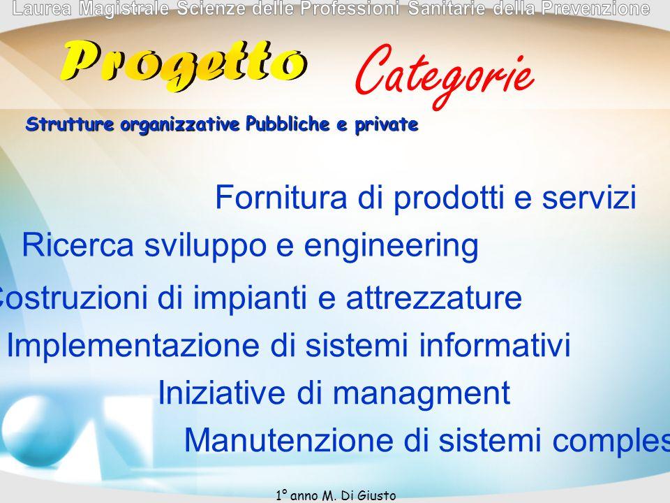 Categorie Fornitura di prodotti e servizi Ricerca sviluppo e engineering Costruzioni di impianti e attrezzature Implementazione di sistemi informativi Iniziative di managment Manutenzione di sistemi complessi Strutture organizzative Pubbliche e private 1° anno M.