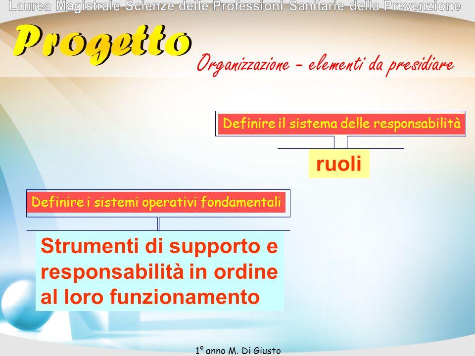 Organizzazione - elementi da presidiare Definire il sistema delle responsabilità ruoli Definire i sistemi operativi fondamentali Strumenti di supporto e responsabilità in ordine al loro funzionamento 1° anno M.