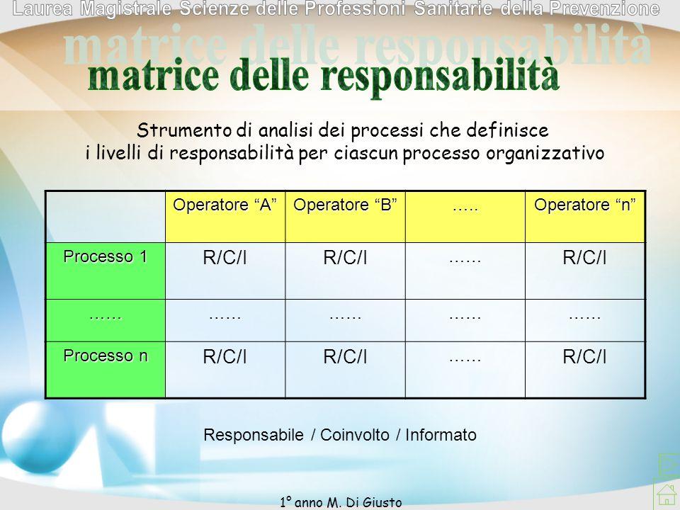 Strumento di analisi dei processi che definisce i livelli di responsabilità per ciascun processo organizzativo Operatore A Operatore B ….. Operatore n