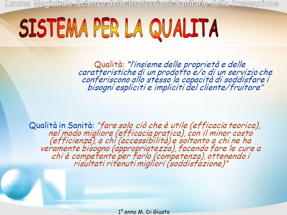 Qualità: linsieme delle proprietà e delle caratteristiche di un prodotto e/o di un servizio che conferiscono allo stesso la capacità di soddisfare i b
