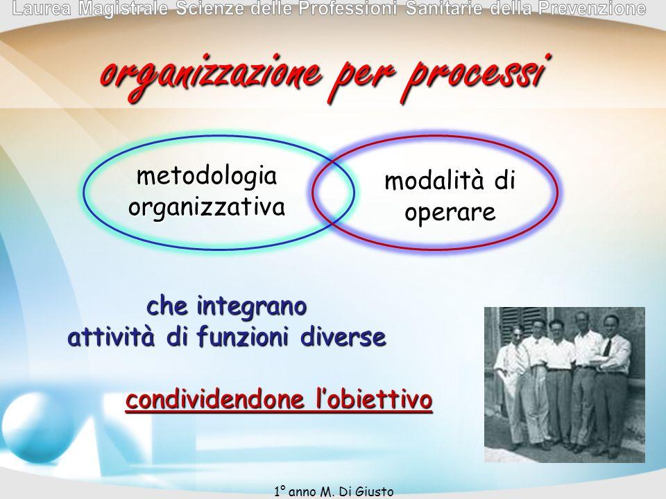 organizzazione per processi che integrano attività di funzioni diverse metodologia organizzativa modalità di operare condividendone lobiettivo 1° anno M.