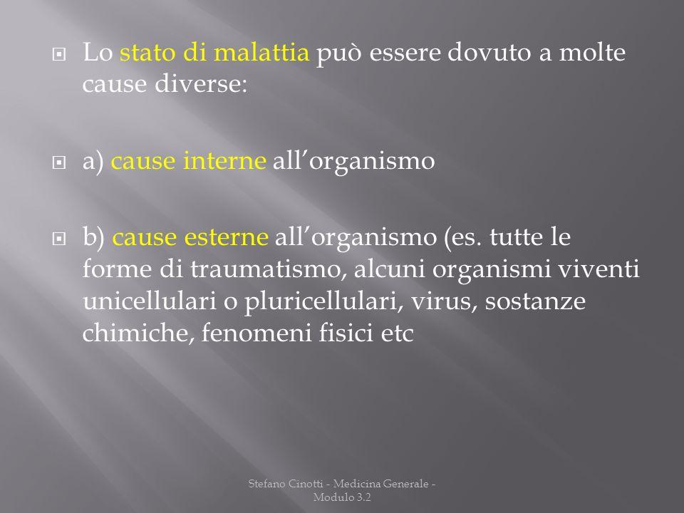 Stefano Cinotti - Medicina Generale - Modulo 3.2 Lo stato di malattia può essere dovuto a molte cause diverse: a) cause interne allorganismo b) cause